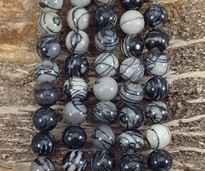 Black Picasso Jasper 12mm Round