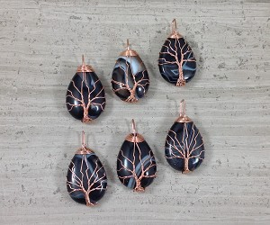 Sardonyx aka Banded Agate Teardrop Copper Wired Tree of Life Pendant