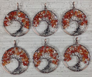 Carnelian Chips Round Pendant Oxidized Copper Wired Tree of Life