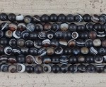 Black Eye Agate Matte Round 2.5mm Hole 8mm