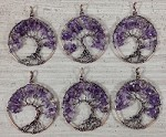 Amethyst Chips Round Pendant Oxidized Copper Wired Tree of Life